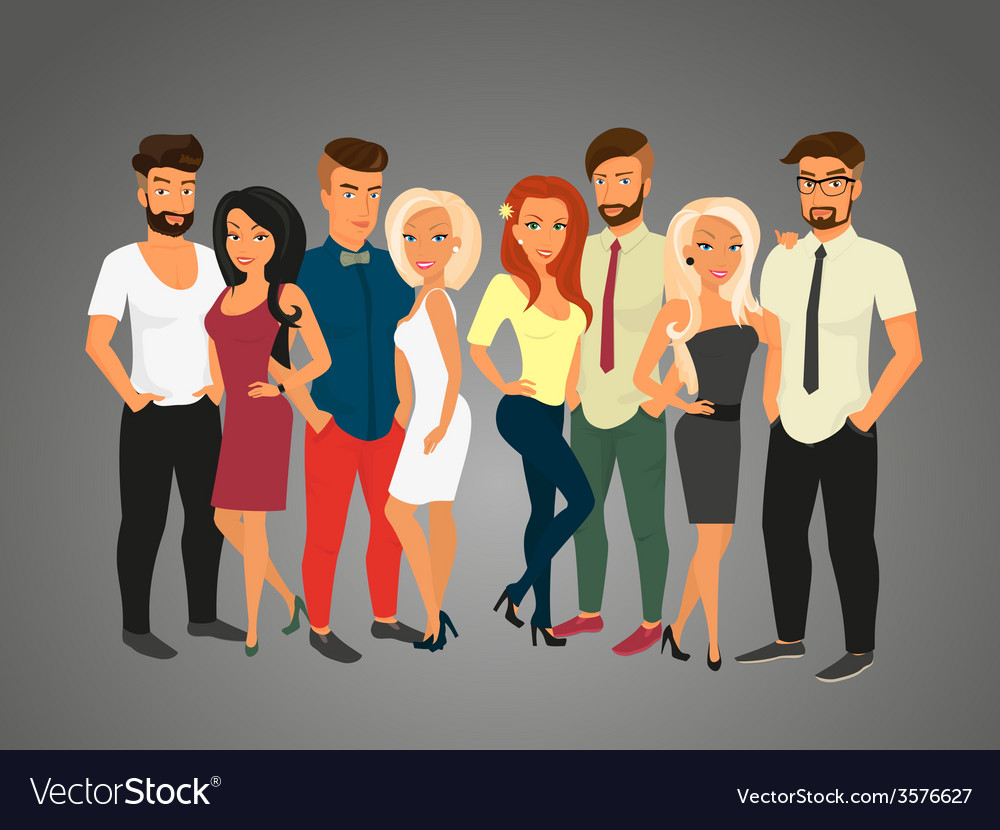 Hipster guys and their pretty girlfriends vector | Price: 1 Credit (USD $1)