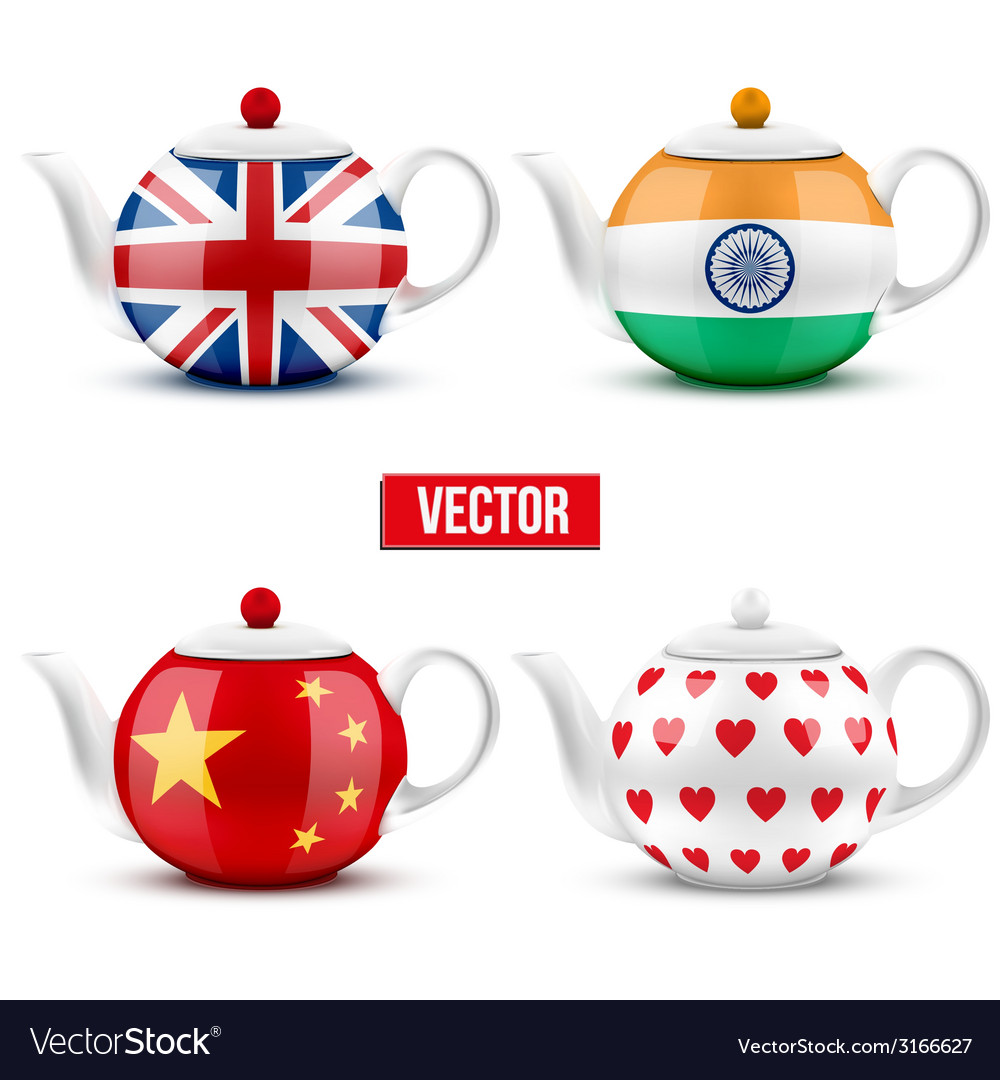 Set of different ceramic teapot with flags vector | Price: 1 Credit (USD $1)