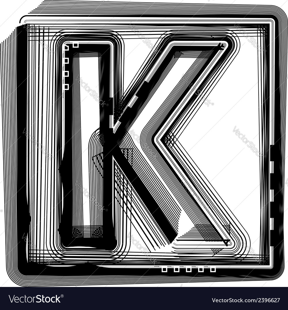 Striped font letter k vector | Price: 1 Credit (USD $1)