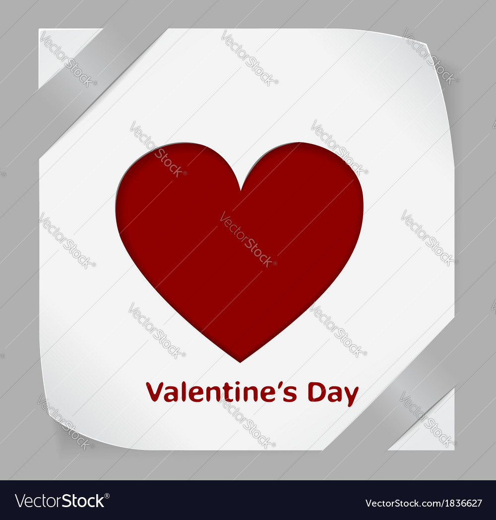 Valentines day paper sticker with red heart vector | Price: 1 Credit (USD $1)