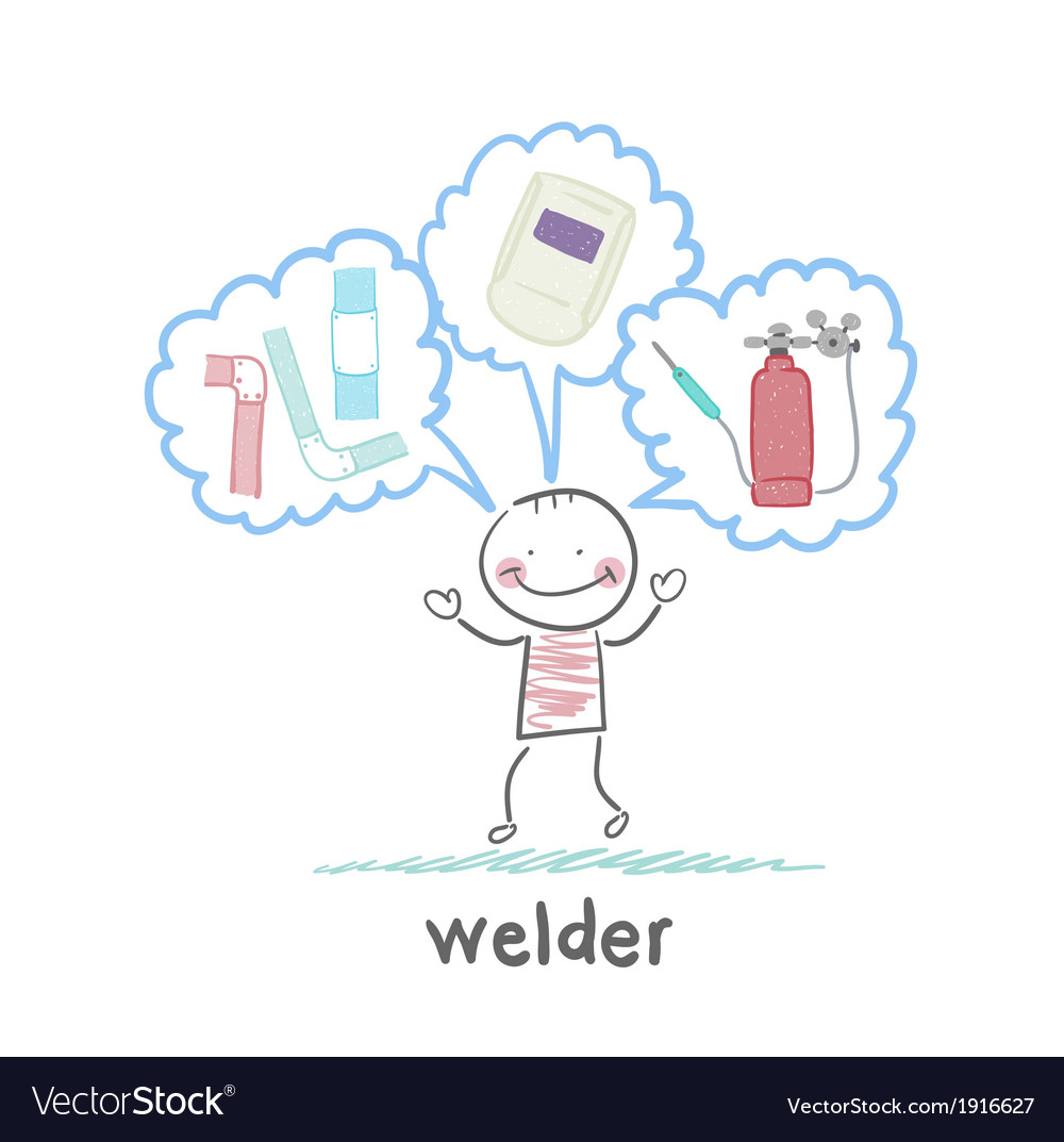 Welder thinks about welder helmet and pipe vector | Price: 1 Credit (USD $1)