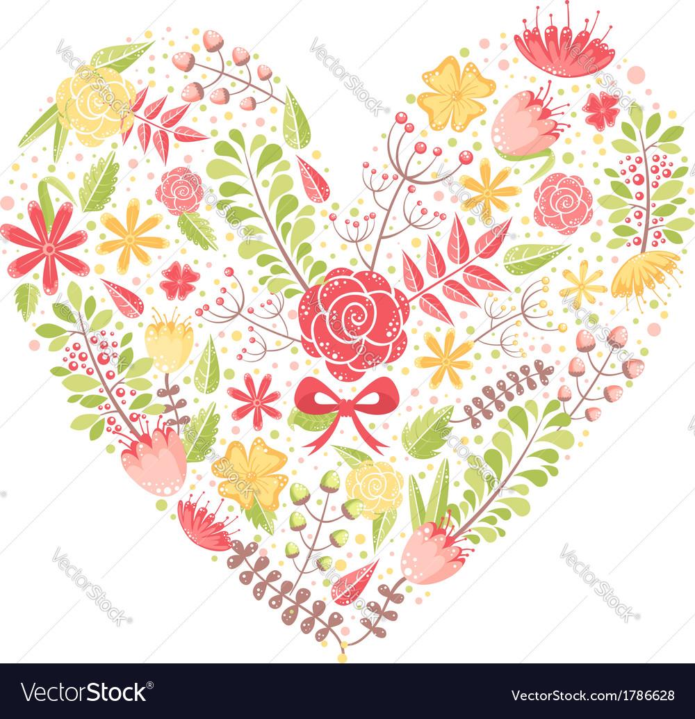 Beautiful flower heart postcard vector | Price: 1 Credit (USD $1)