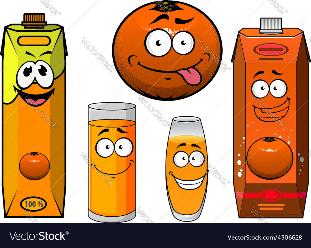 Cartooned orange fruit juice containers and vector | Price: 1 Credit (USD $1)