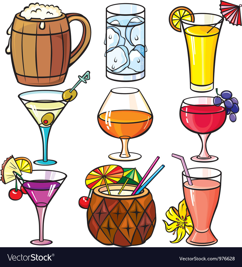 Drinks cocktails icon set vector | Price: 3 Credit (USD $3)
