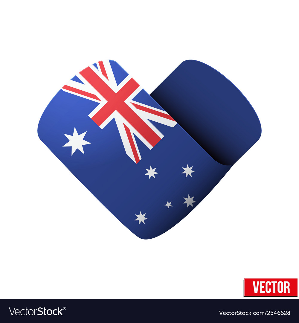 Flag icon in the form of heart i love australia vector | Price: 1 Credit (USD $1)