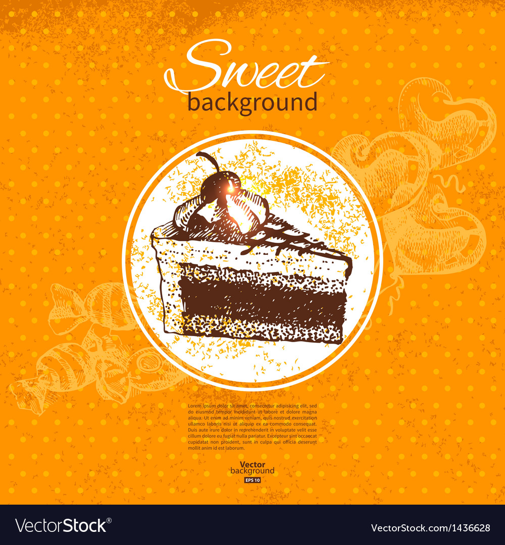 Hand drawn vintage sweet background vector | Price: 1 Credit (USD $1)
