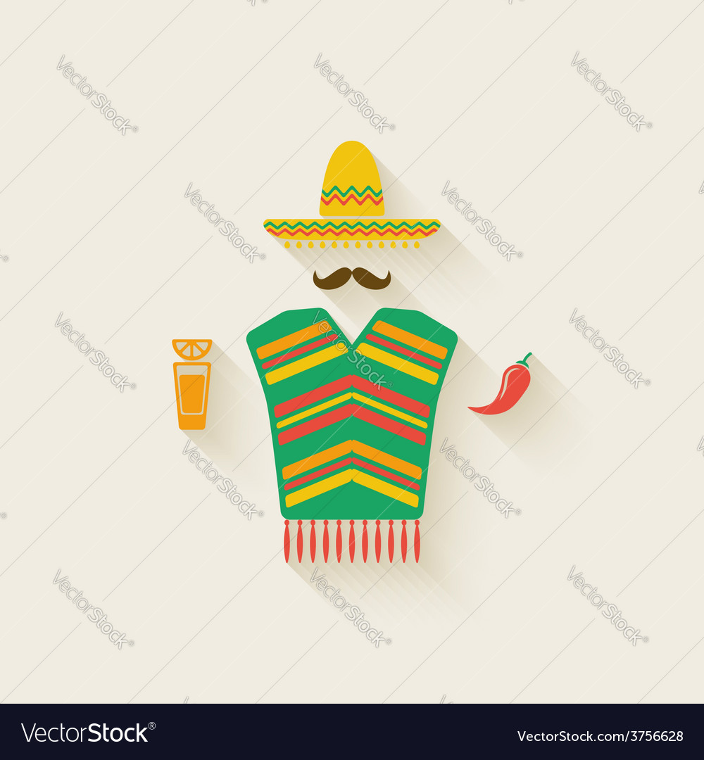 Mexican man with tequila and chili pepper vector | Price: 1 Credit (USD $1)