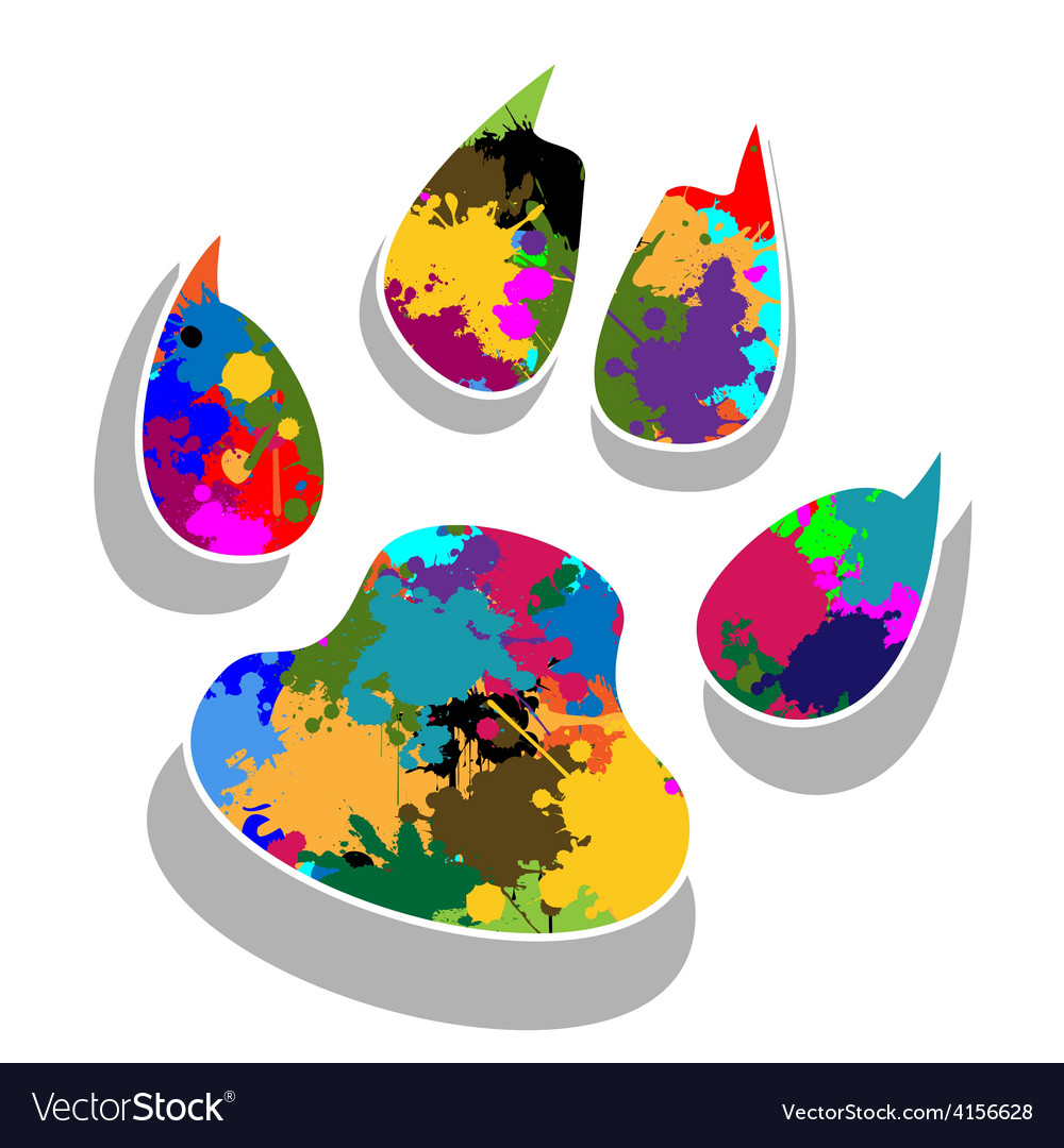 Paw prints colorful vector | Price: 1 Credit (USD $1)