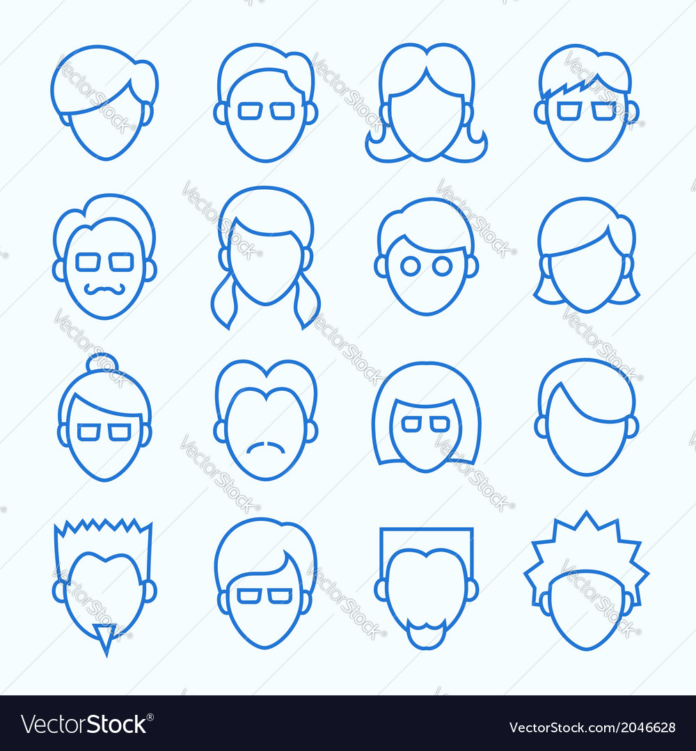 Simple line faces icons set vector | Price: 1 Credit (USD $1)