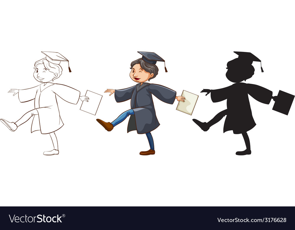 Three sketches of a boy graduating vector | Price: 1 Credit (USD $1)