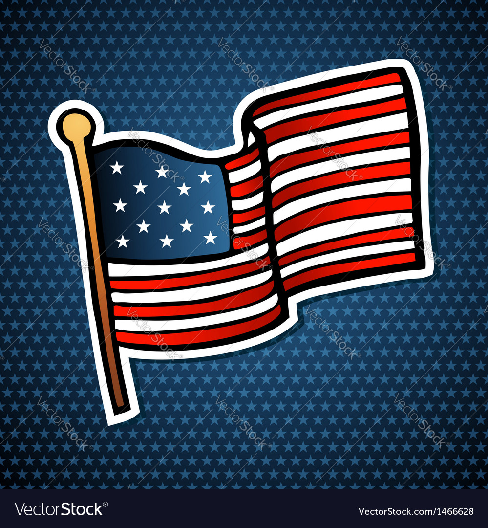 Usa cartoon flag vector | Price: 1 Credit (USD $1)