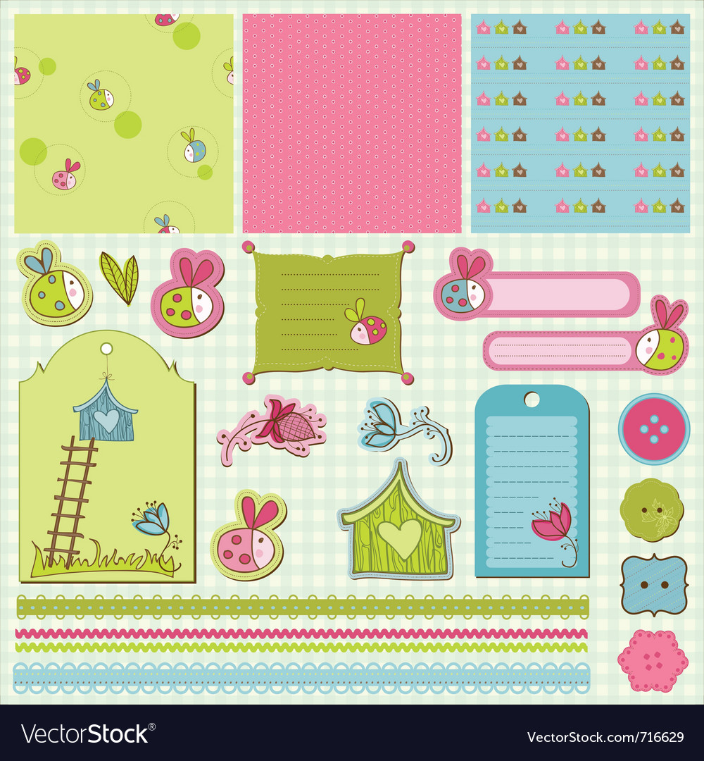Baby scrap with ladybugs vector | Price: 1 Credit (USD $1)