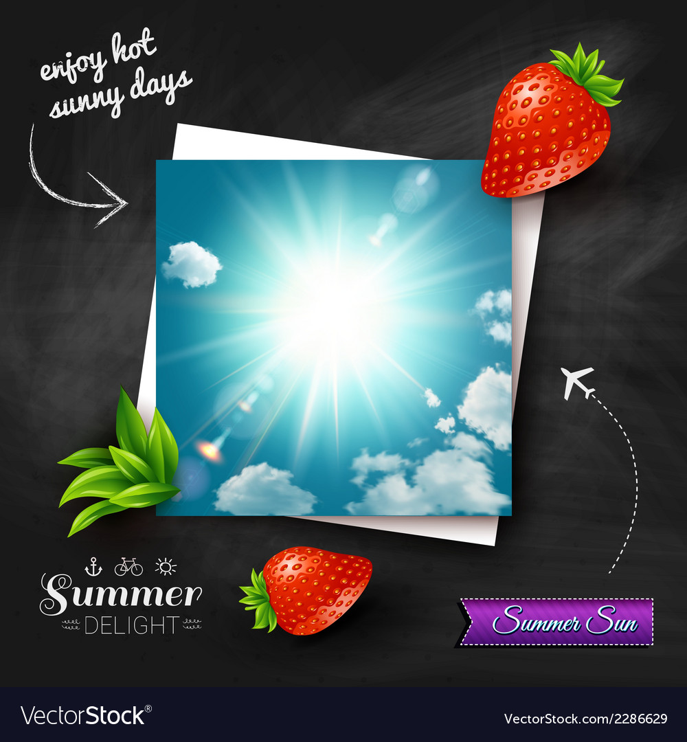 Card with hot summer sun on a chalkboard vector | Price: 1 Credit (USD $1)