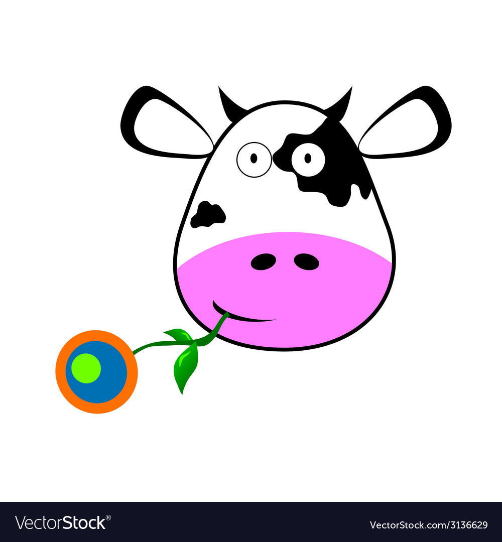Cow with a flower in her mouth vector | Price: 1 Credit (USD $1)