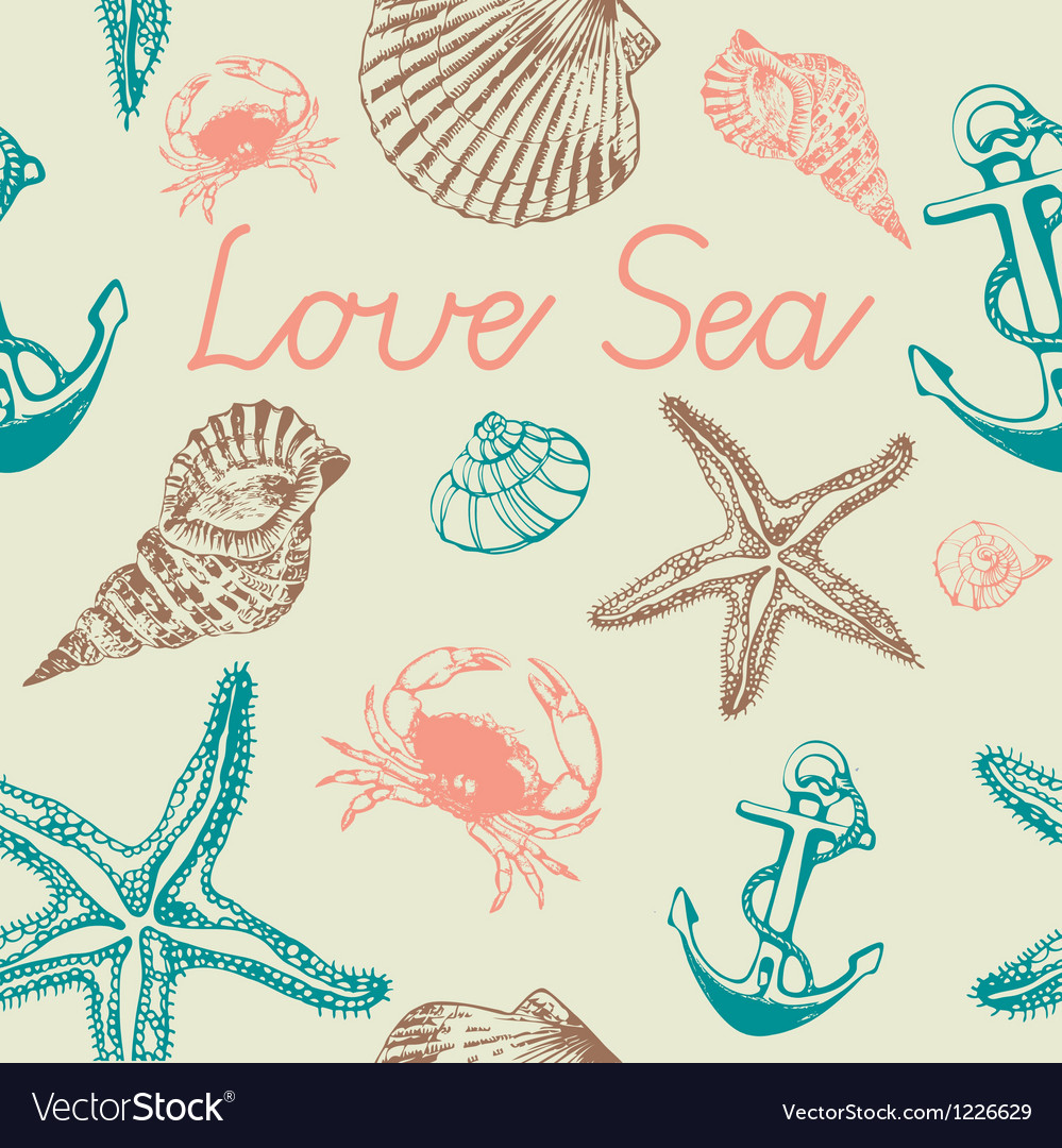 Decorative sea pattern vector | Price: 1 Credit (USD $1)