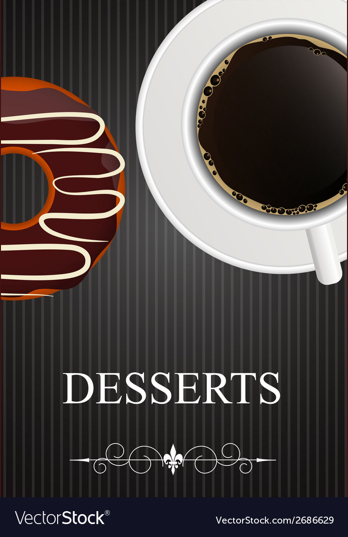 Dessert menu with coffee and donut vector | Price: 1 Credit (USD $1)