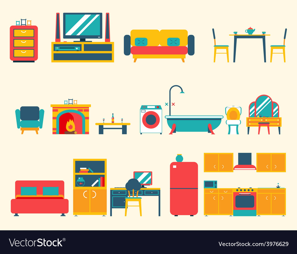 Furniture house interior icons and symbols set vector | Price: 1 Credit (USD $1)