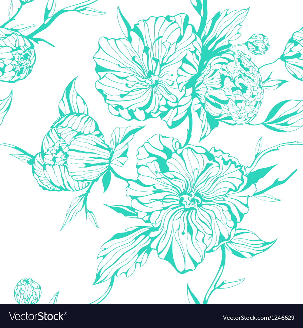 Graphic seamless background with peony flowers vector | Price: 1 Credit (USD $1)