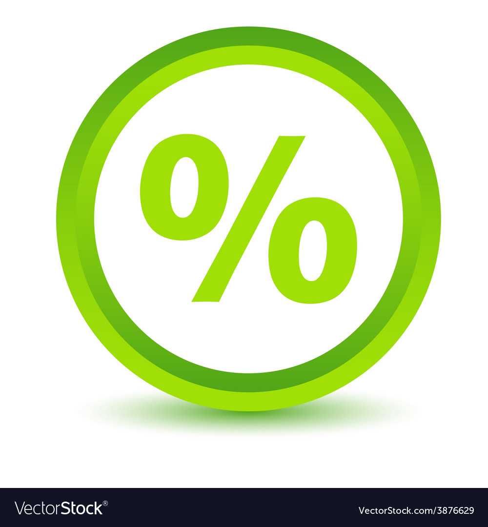 Green percentage icon vector | Price: 1 Credit (USD $1)