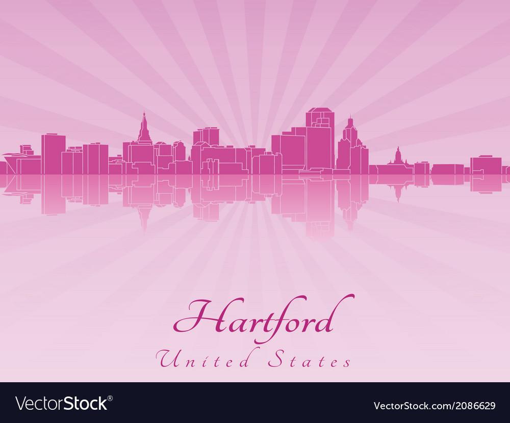 Hartford skyline in purple radiant orchid vector | Price: 1 Credit (USD $1)