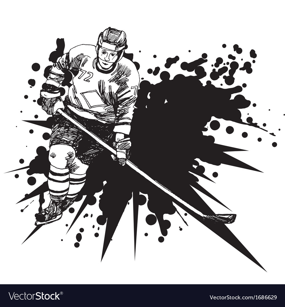 Hockey player1 vector | Price: 1 Credit (USD $1)