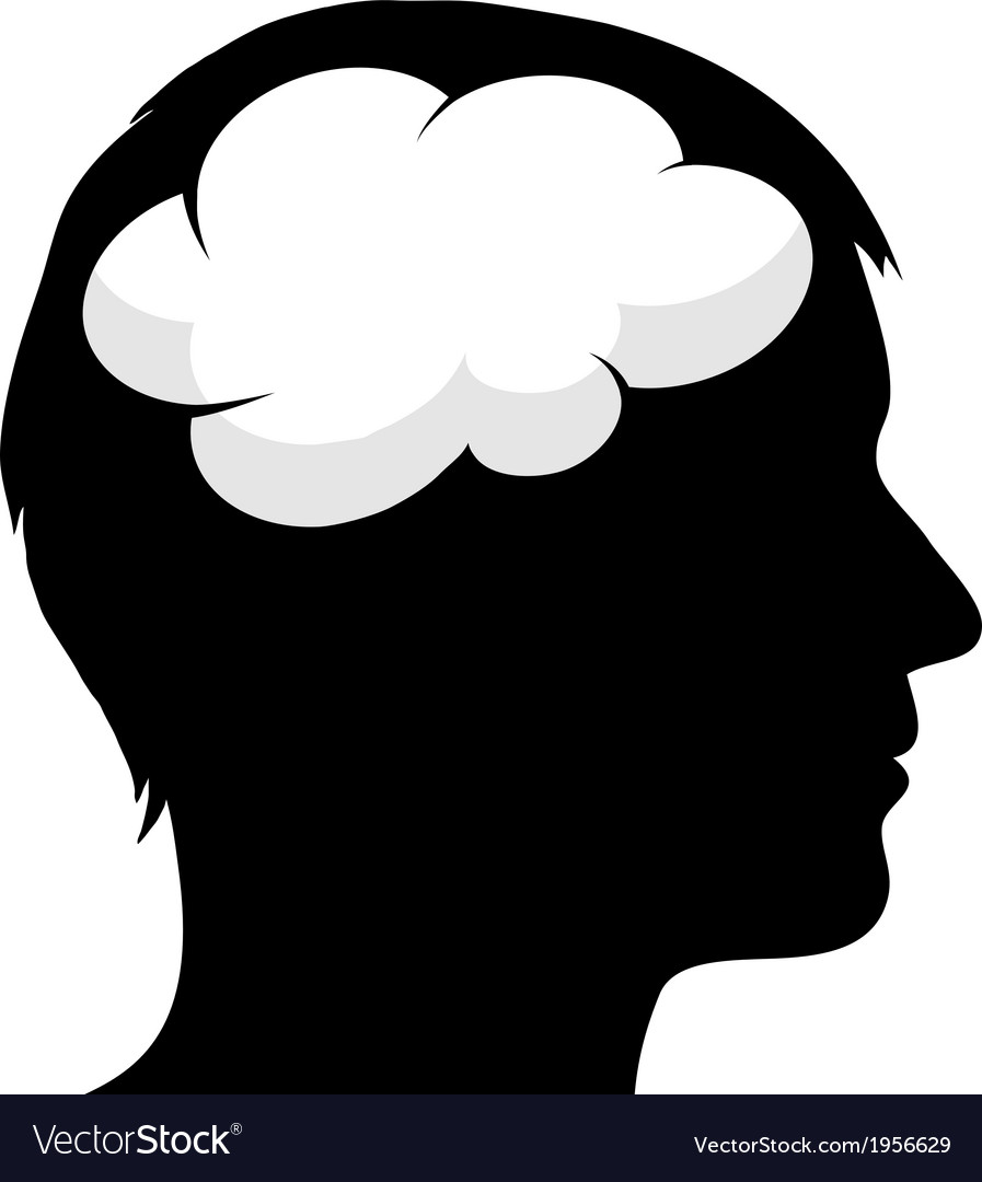 Male silhouette with brain vector   Price: 1 Credit (USD $1)