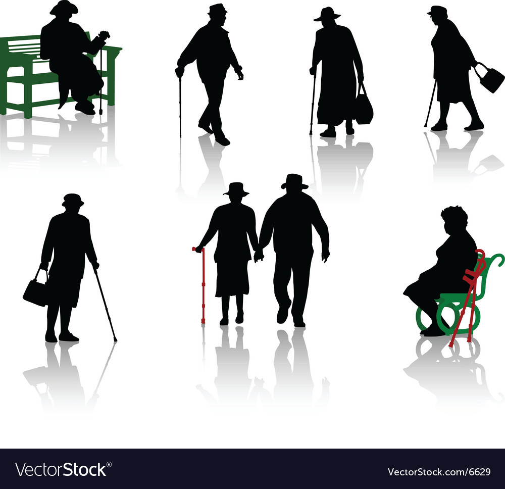 Old people silhouette vector | Price: 1 Credit (USD $1)
