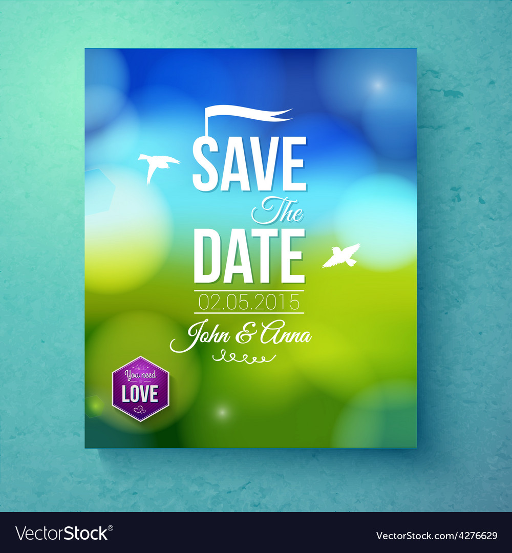 Save the date wedding template for spring wedding vector | Price: 1 Credit (USD $1)
