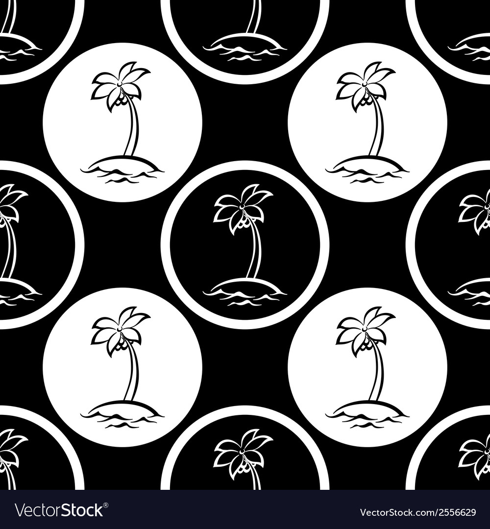 Seamless pattern islands with palm silhouettes vector | Price: 1 Credit (USD $1)