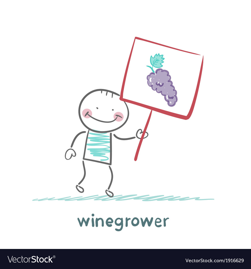 Winegrower holds a banner with grapes vector | Price: 1 Credit (USD $1)
