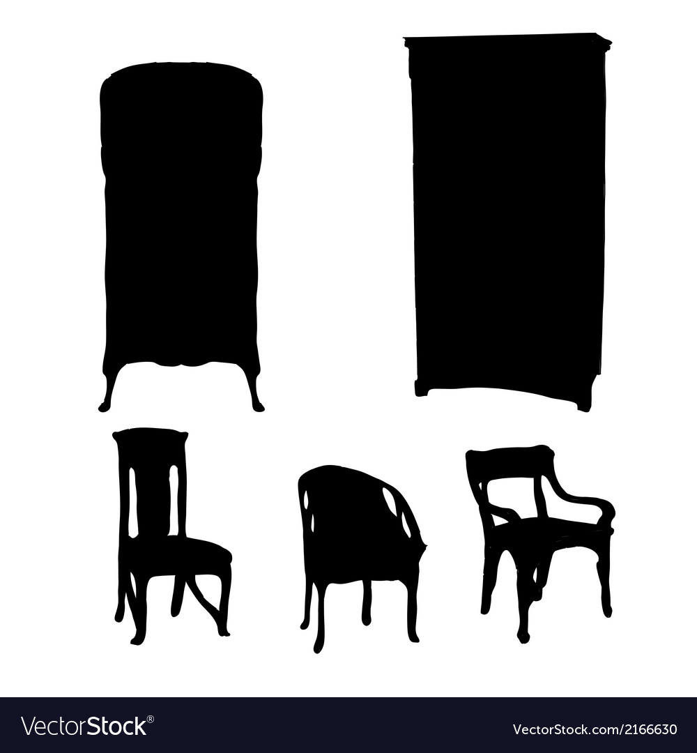 Art nouveau furniture silhouettes vector | Price: 1 Credit (USD $1)