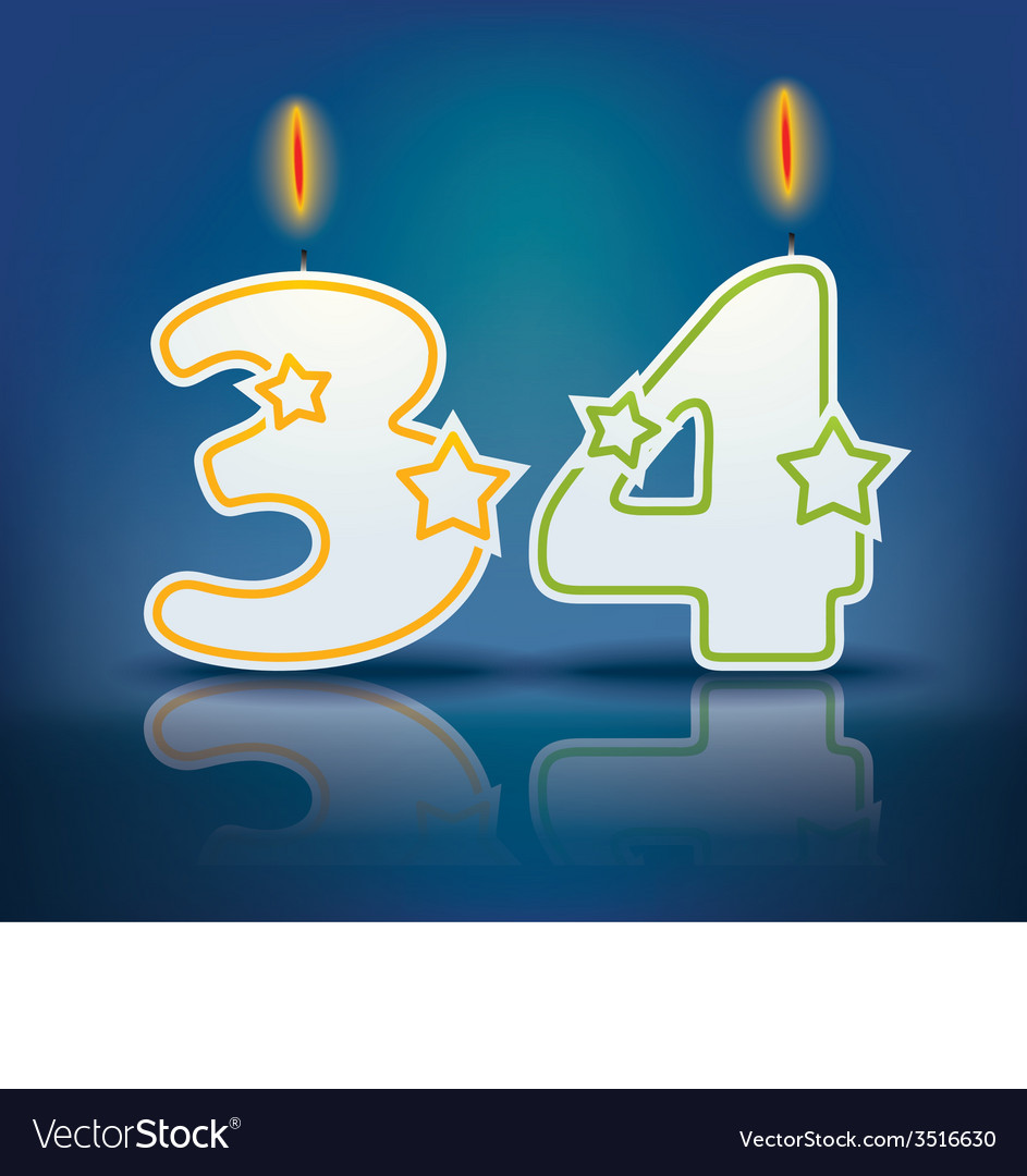 Birthday candle number 34 vector | Price: 1 Credit (USD $1)