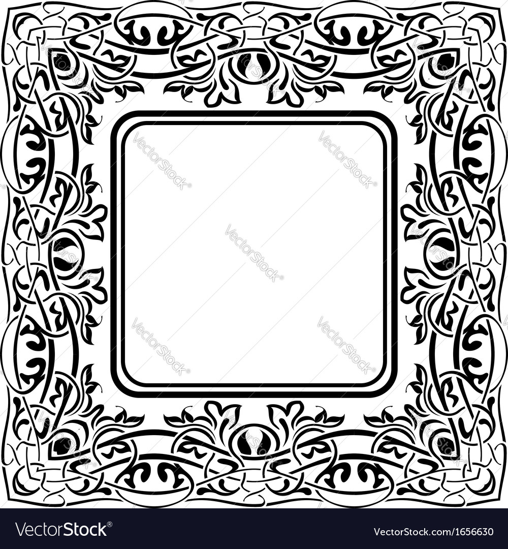 Black frame with ornamental border on white backgr vector | Price: 1 Credit (USD $1)