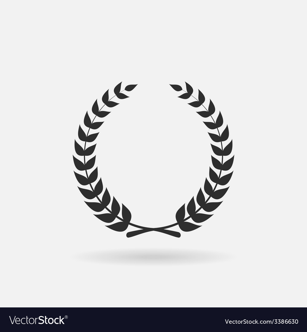Black laurel silhouette foliate circular vector | Price: 1 Credit (USD $1)