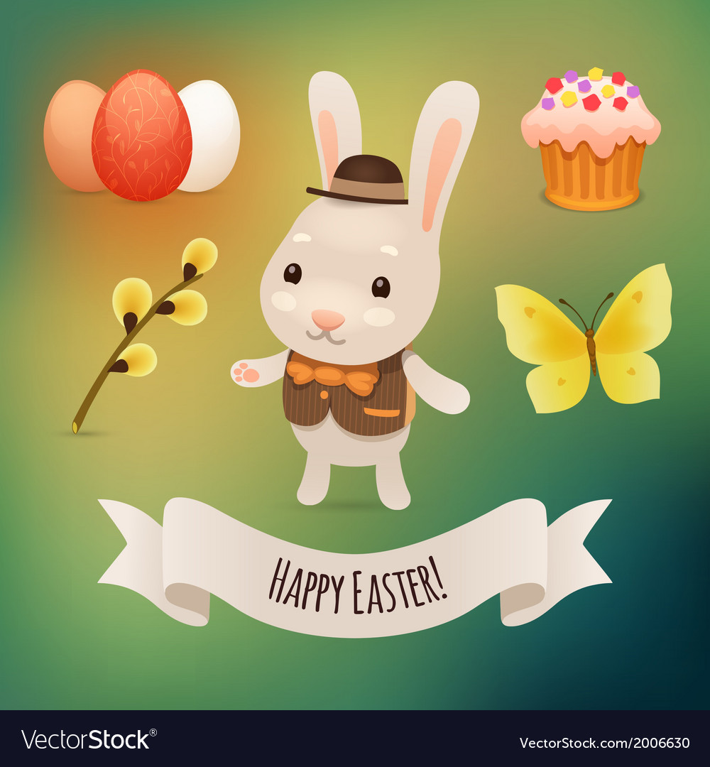 Bunny and easter symbols vector   Price: 1 Credit (USD $1)