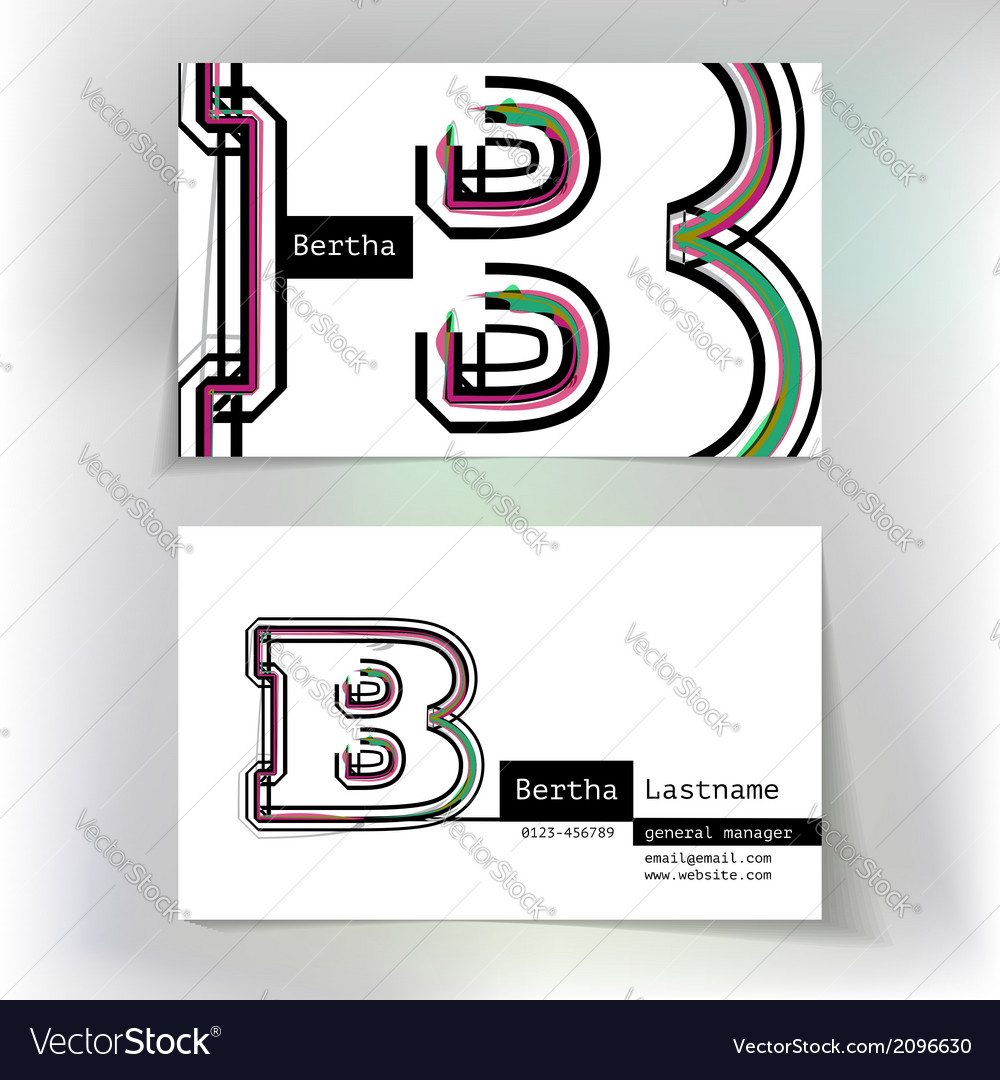 Business card design with letter b vector | Price: 1 Credit (USD $1)