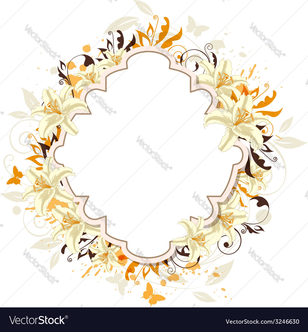 Decorative background with white lily vector | Price: 1 Credit (USD $1)