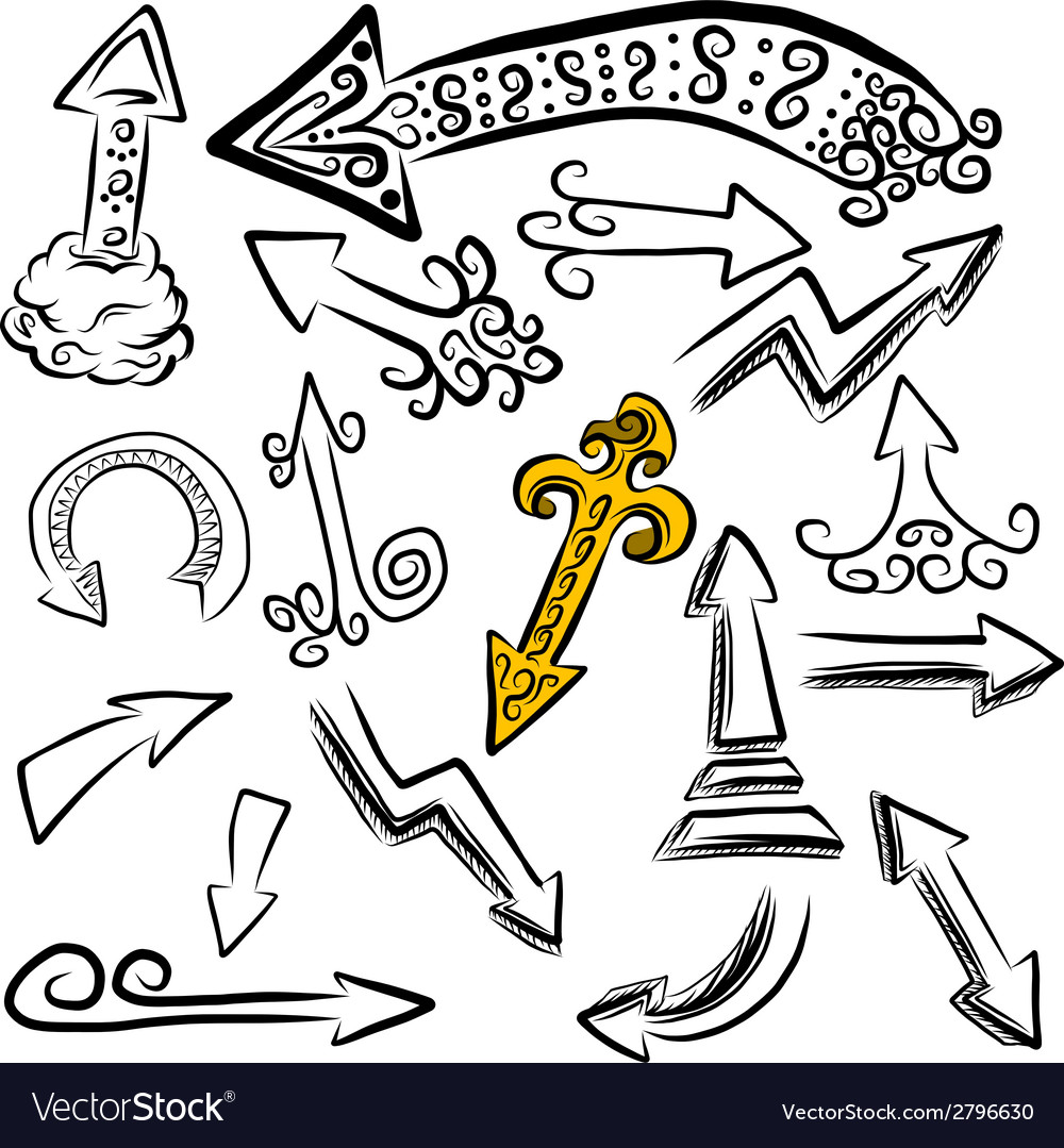 Doodle arrows set vector | Price: 1 Credit (USD $1)