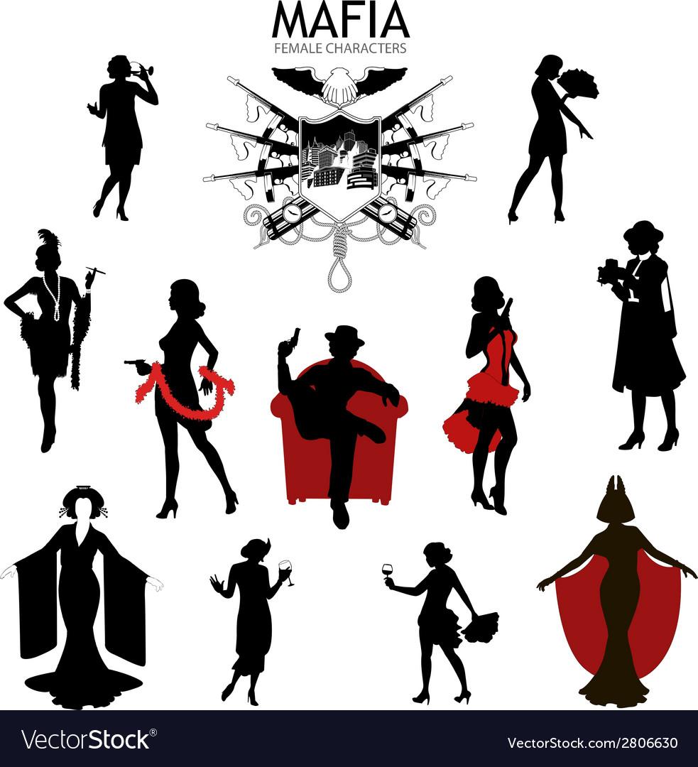 Female characters silhouettes retro mafia set vector | Price: 1 Credit (USD $1)