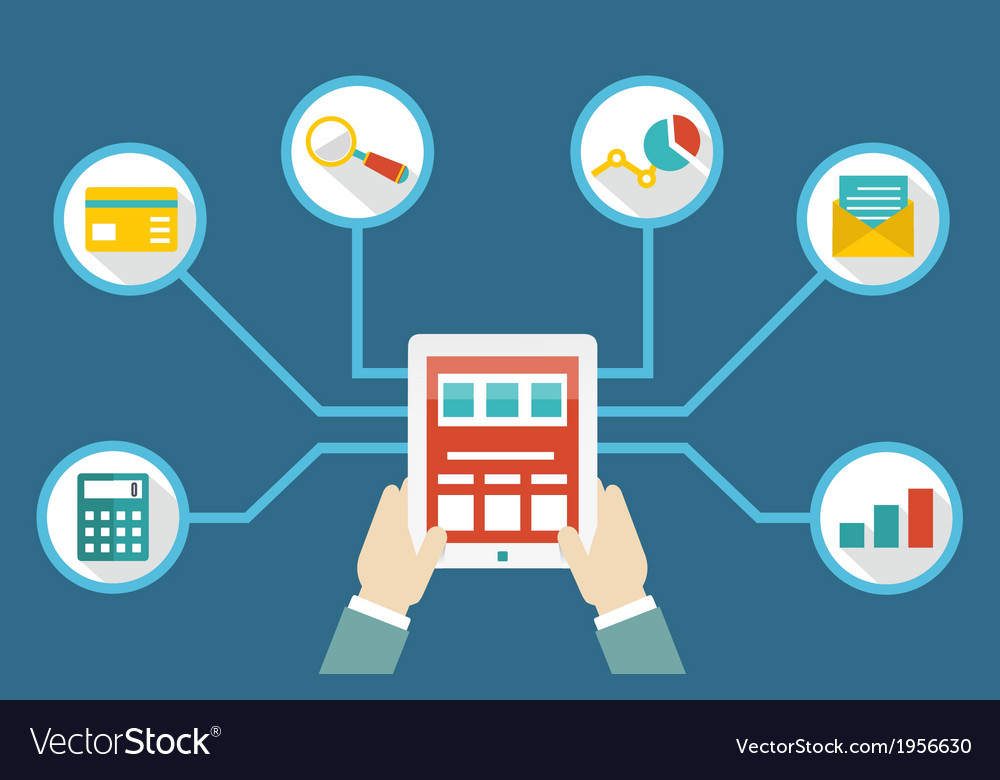Management of money by means of tablet pc vector | Price: 1 Credit (USD $1)