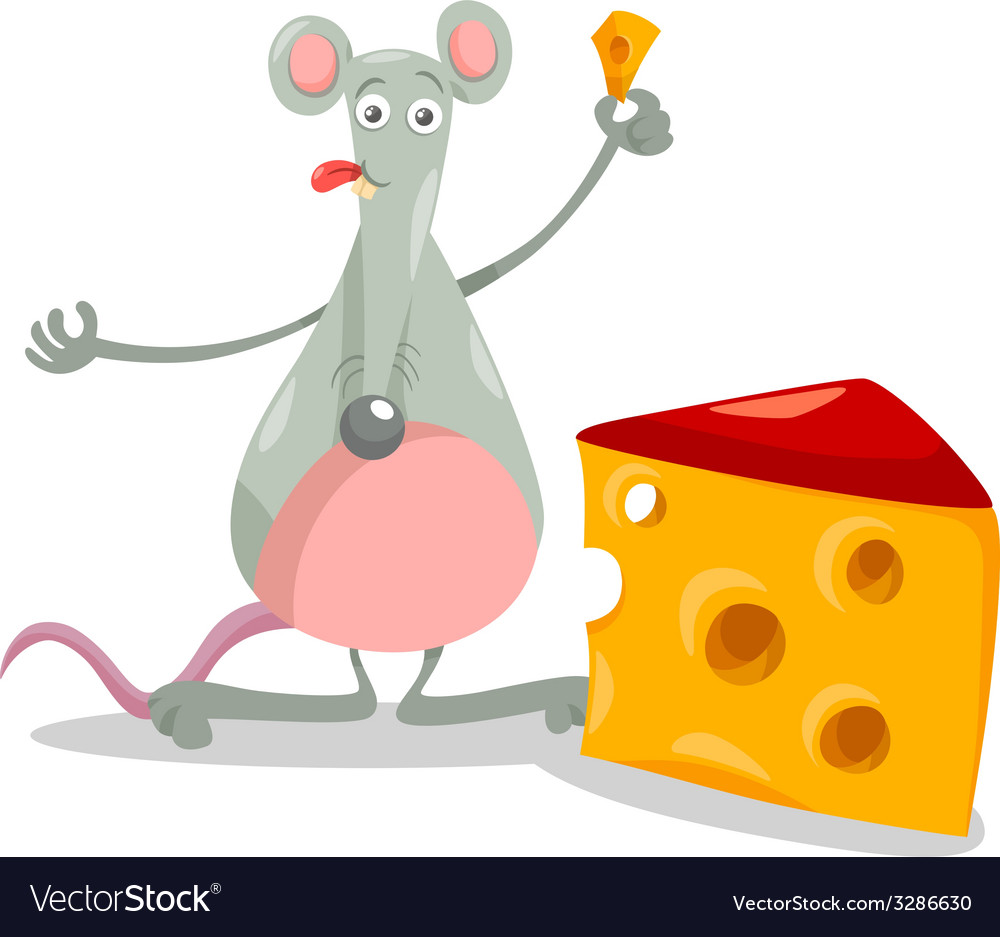 Mouse with cheese cartoon vector | Price: 1 Credit (USD $1)
