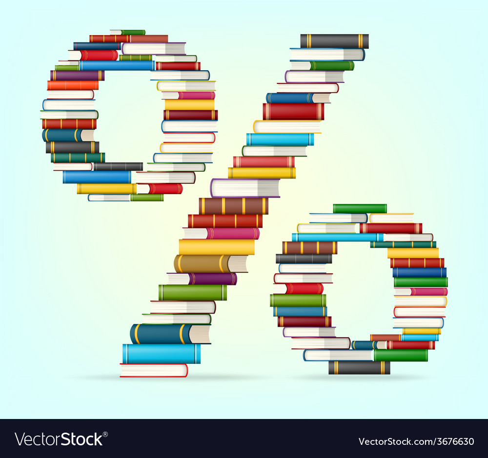 Percent from stacks of multi colored books vector | Price: 1 Credit (USD $1)