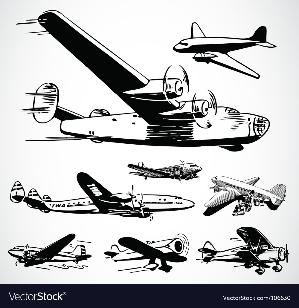 Retro airplanes vector | Price: 1 Credit (USD $1)