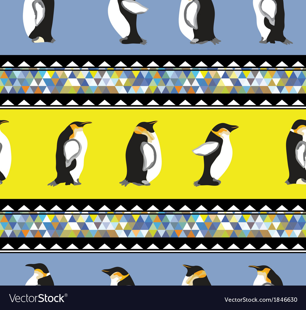 Texture with penguins and a triangular design vector | Price: 1 Credit (USD $1)