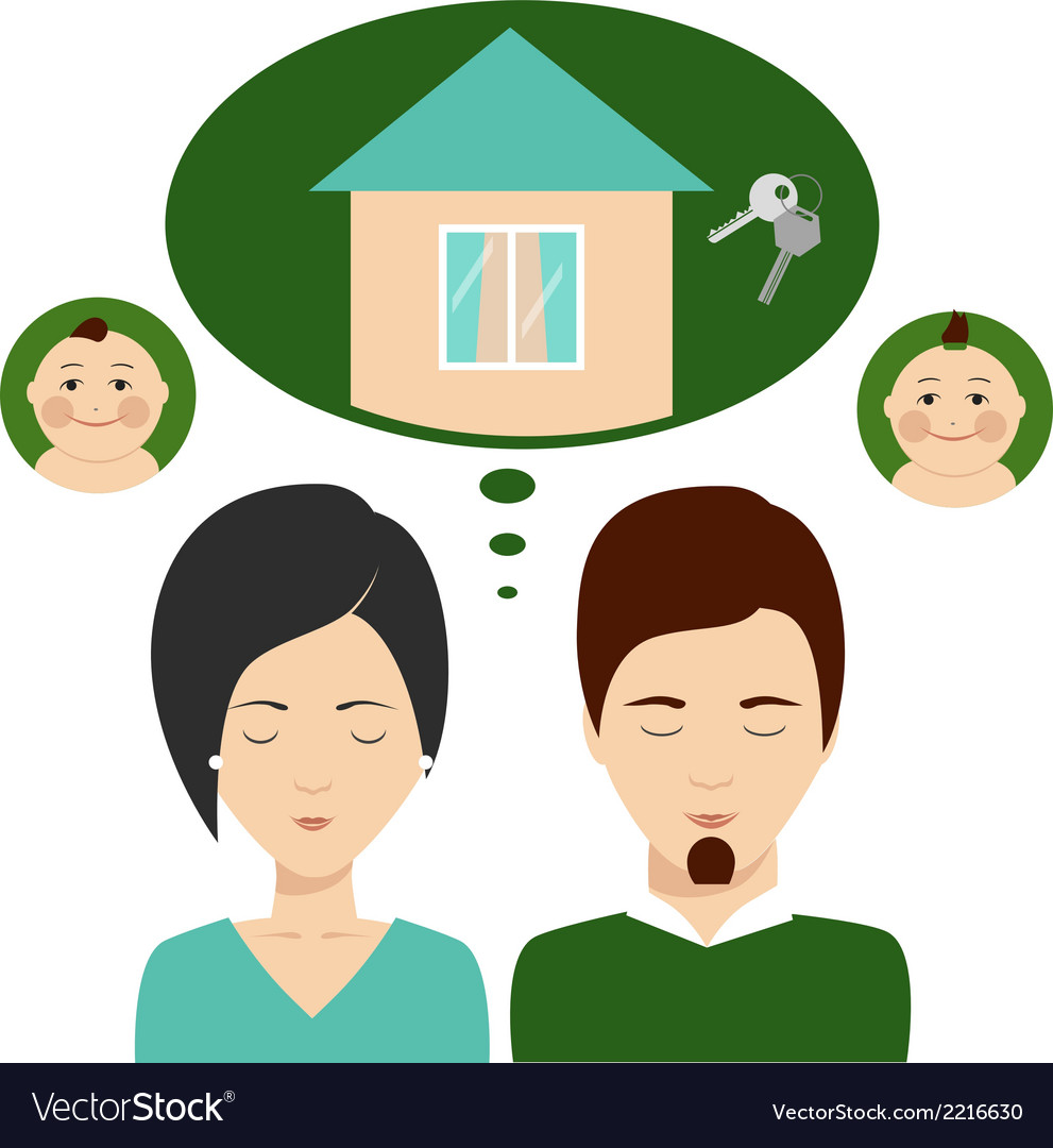 Young family thinks about mortgages vector | Price: 1 Credit (USD $1)