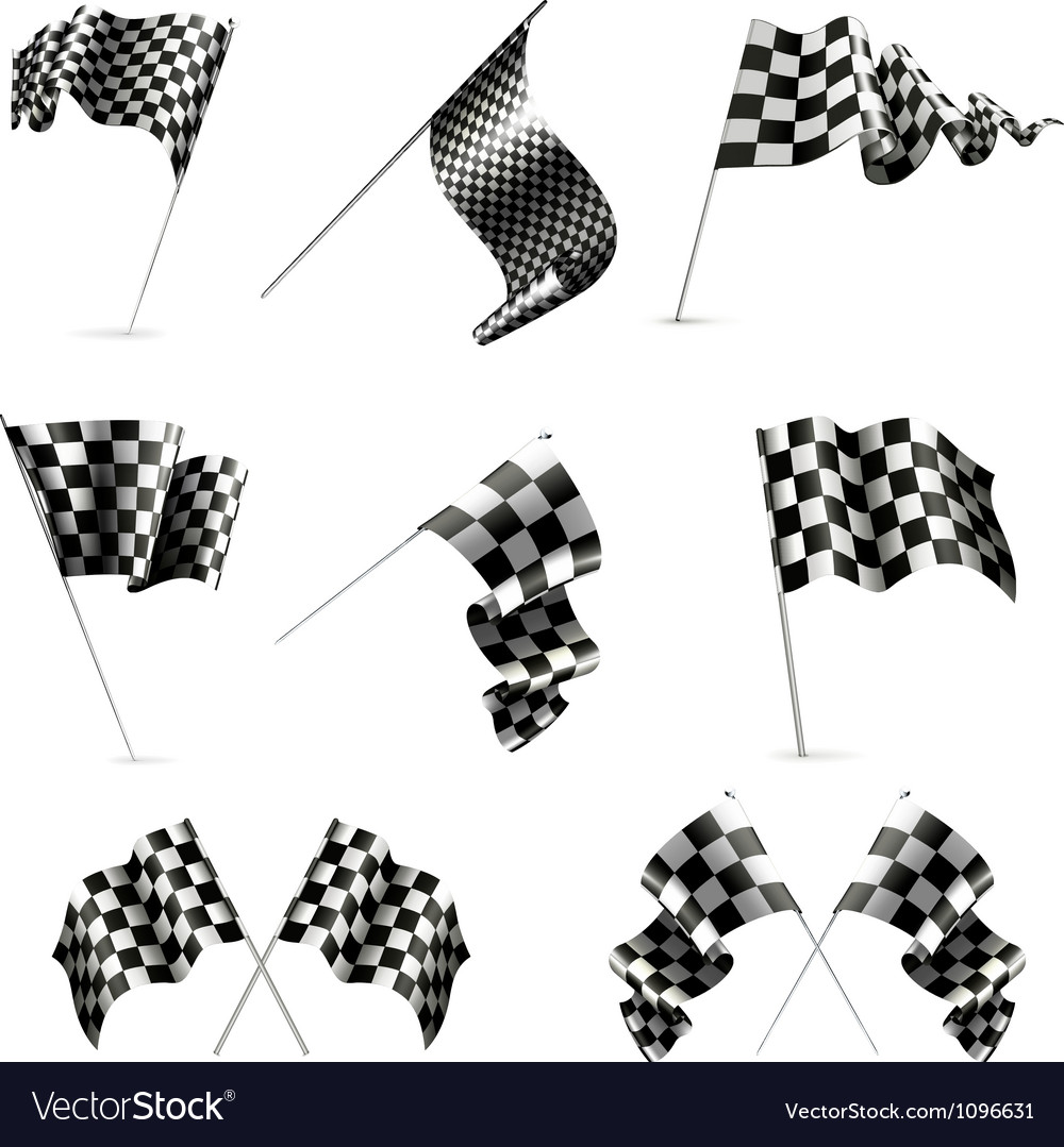 Checkered flags set vector | Price: 1 Credit (USD $1)