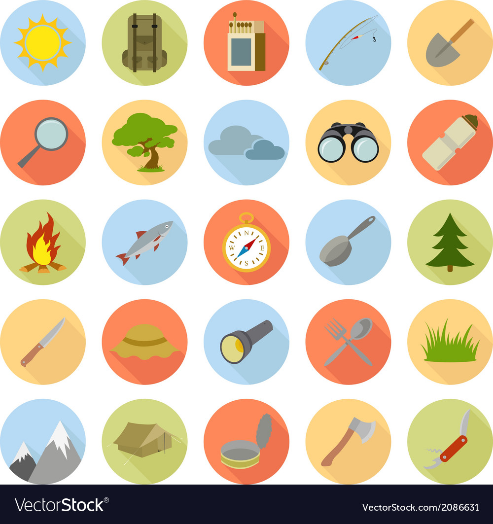 Collection of tourist icons vector | Price: 1 Credit (USD $1)