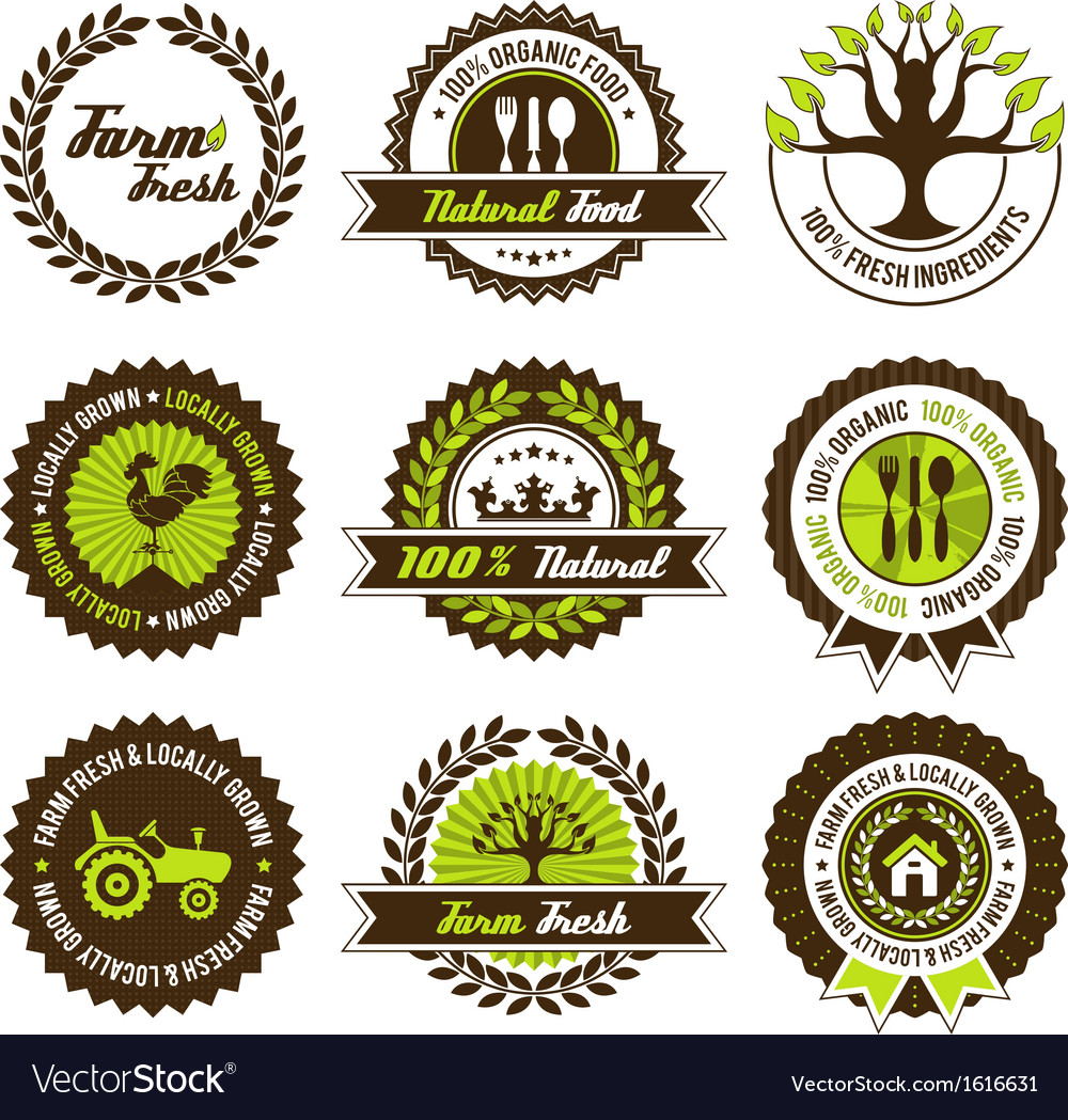 Farm fresh label set vector | Price: 1 Credit (USD $1)