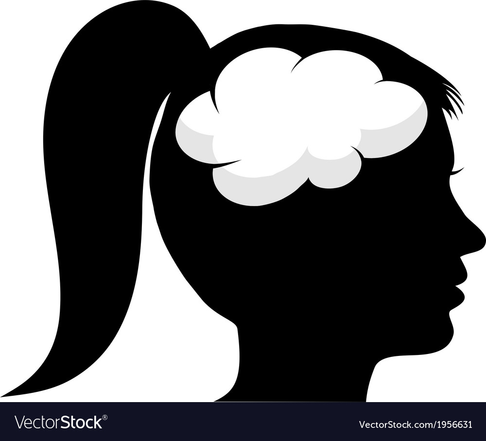Female silhouette with brain vector | Price: 1 Credit (USD $1)