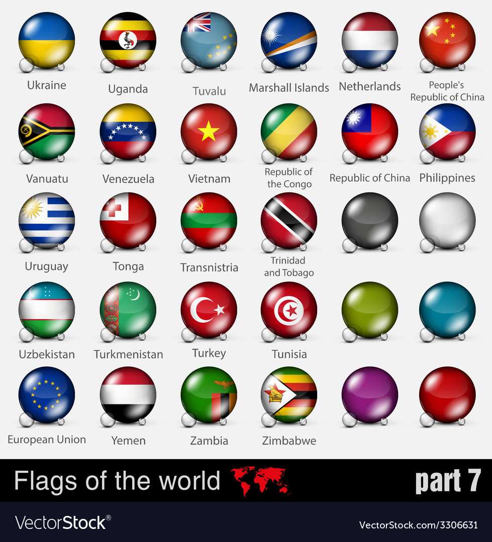 Flags of all countries in the 3d ball vector | Price: 1 Credit (USD $1)